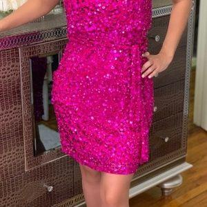 Woman's pink sequins evening dress